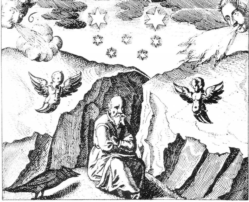 """Meditierender Alchemist im Zustand der """"nigredo"""" zu Beginn des Opus"""